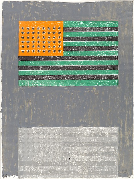 """Jasper Johns, """"Flags,"""" lithograph with stamps (1968) Courtesy Metmuseum.org"""
